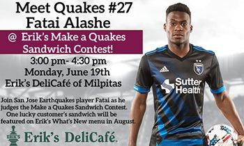 Quakes Player Fatai Alashe to Judge Erik's DeliCafé Contest