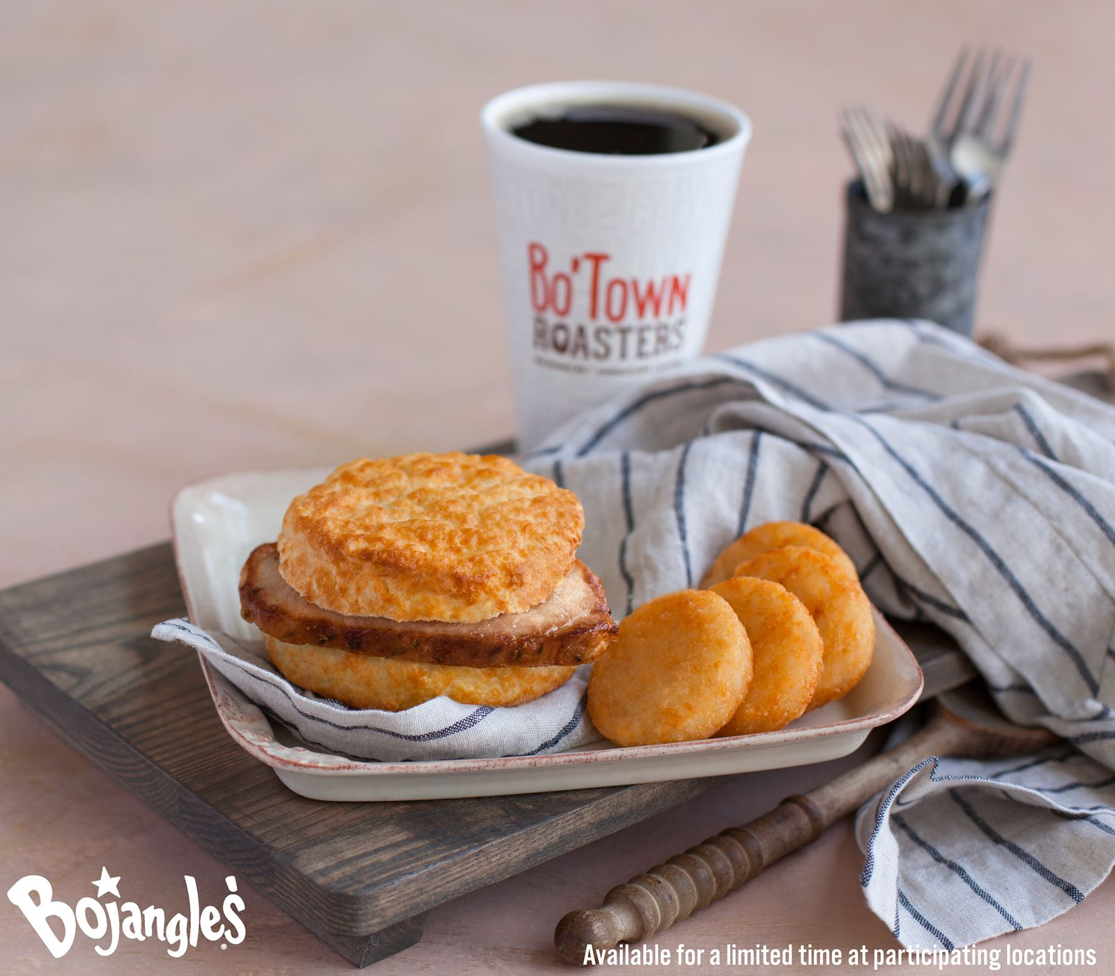 A Two Buck Breakfast is Available All Day Every Day at Bojangles', Including for a Limited Time the All-New Pork Chop Griller Biscuit for $1.99