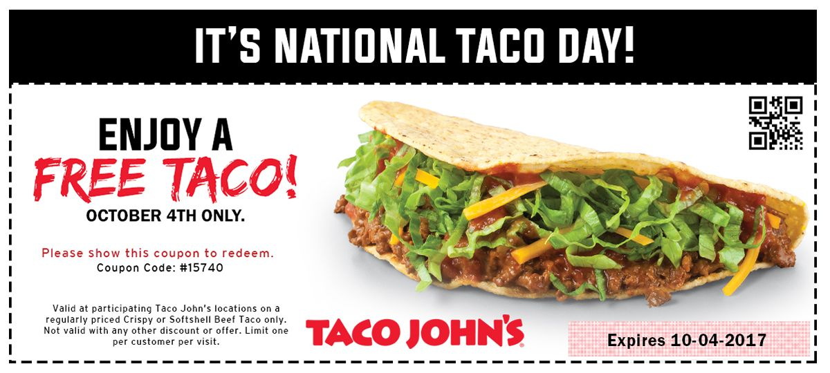 Free Tacos on National Taco Day At Taco John's