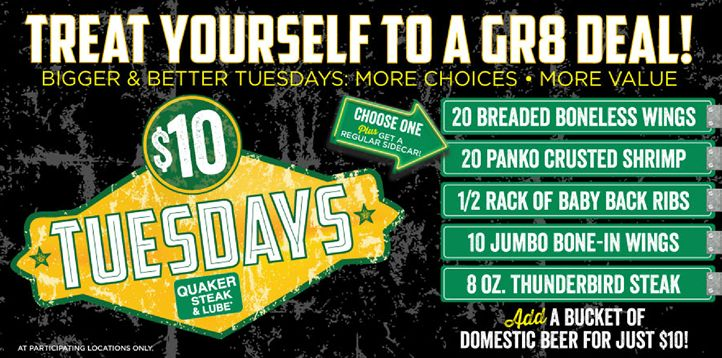 Tuesdays Get Bigger and Better with More Choices and More Value at Quaker Steak & Lube