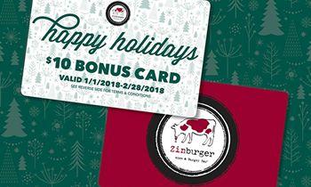 Zinburger Wine & Burger Bar Holiday Gift Card Promotion: Free $10 Bonus Card with $50 Gift Card Purchase