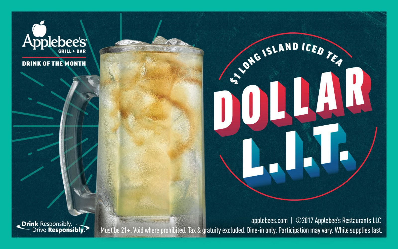 Applebee's Offer $1 Long Island Iced Tea (Dollar L.I.T) for the Month of December