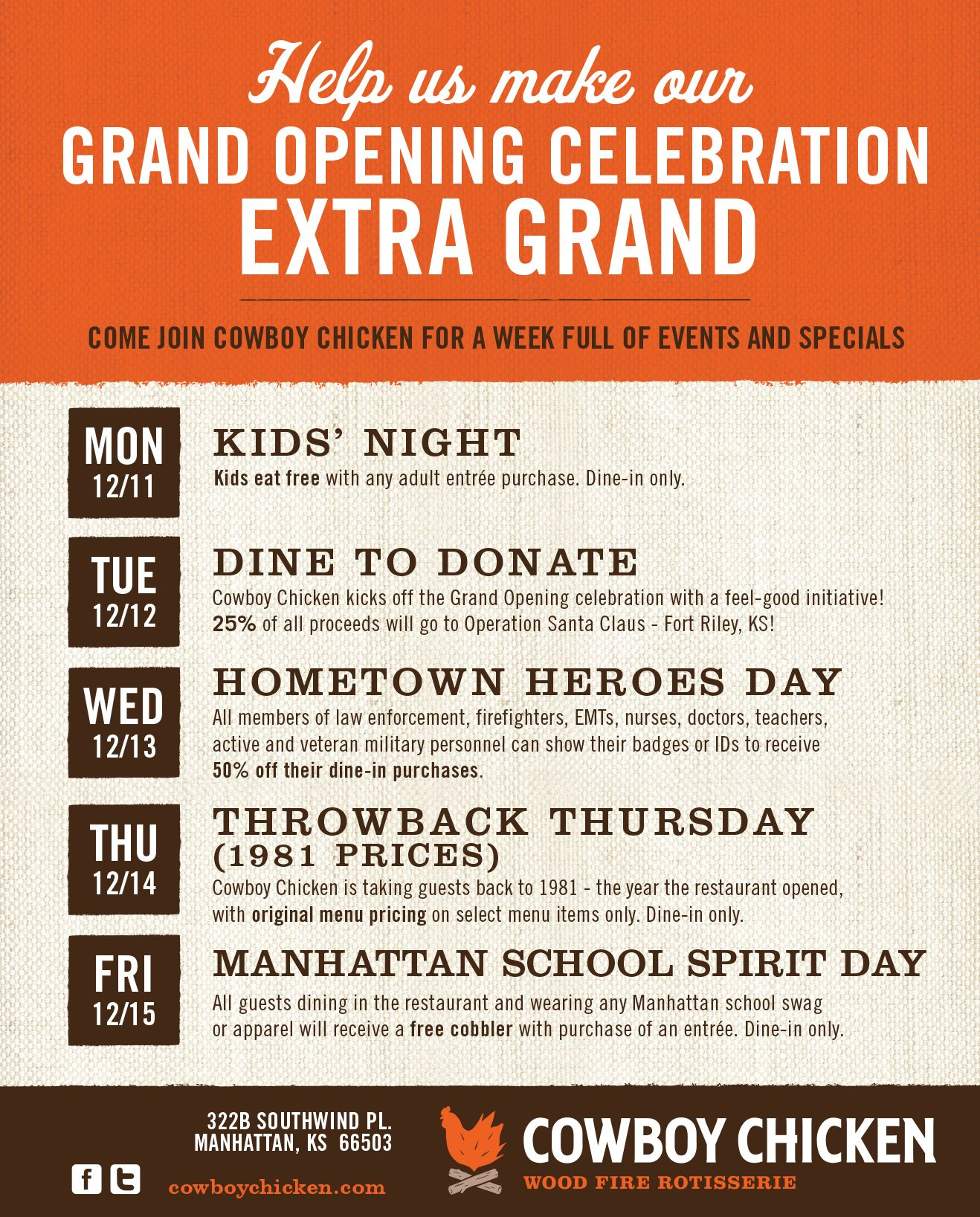 Cowboy Chicken in Manhattan Hosts Weeklong Grand Opening Celebration Dec. 11-15