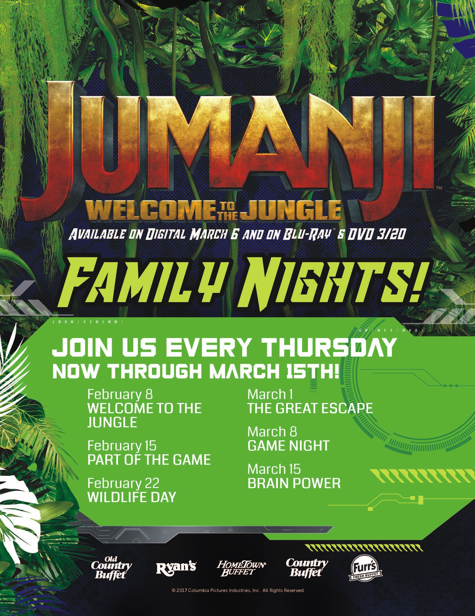 Ovation Brands and Furr's Fresh Buffet Take a Walk on the Wild Side with Jumanji: Welcome To the Jungle Family Nights, Starting Feb. 8