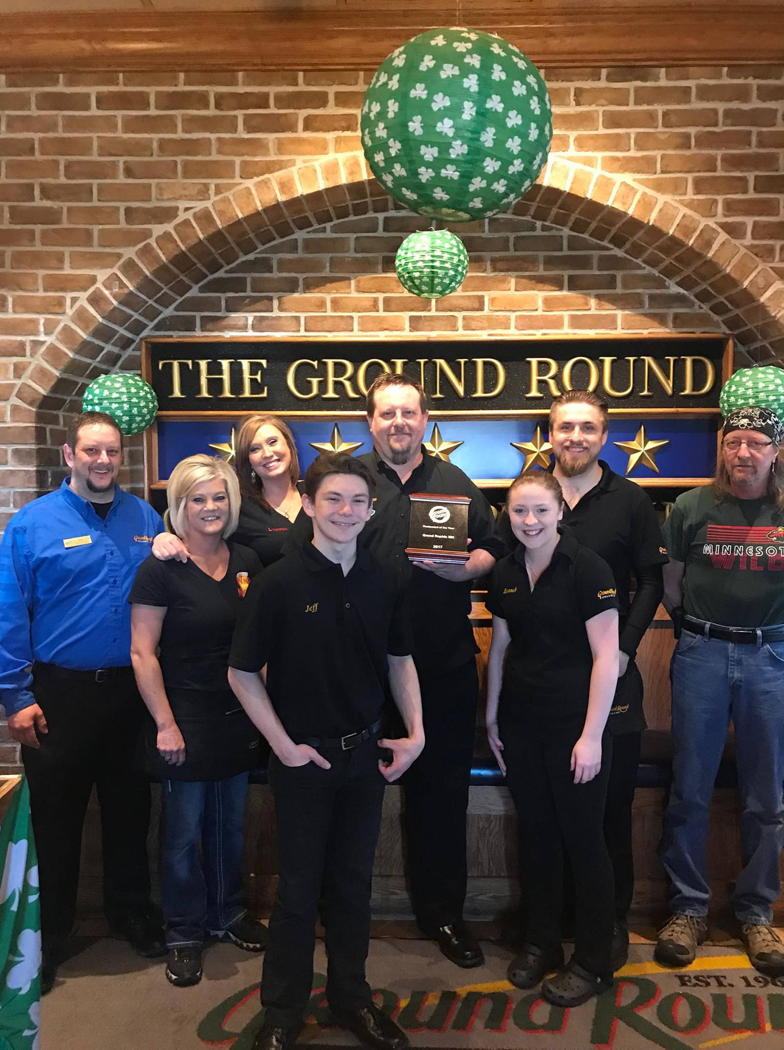 Ground Round Grill & Bar in Grand Rapids, MN receives national recognition as 2017 Restaurant of the Year, awarded by the Ground Round Chain!