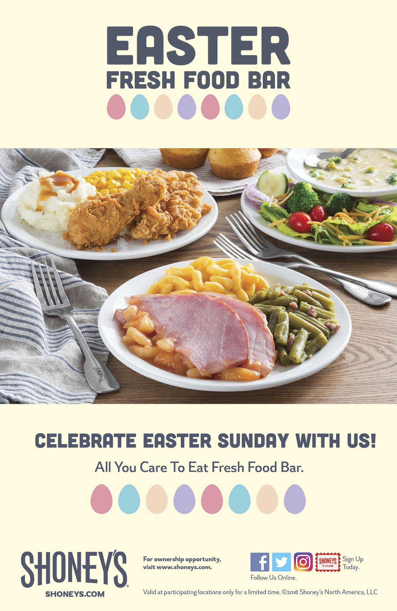 Shoney's Invites America to Enjoy its Home-Style Easter All You Care To Eat Fresh Food Bar Featuring Freshly-Prepared Holiday Favorites