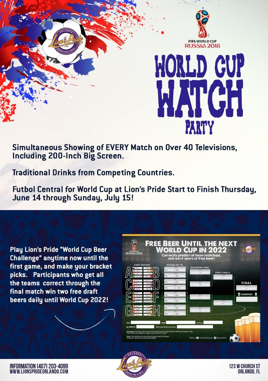 Lion's Pride Soccer Pub & Grill Welcomes World Cup 2018 with the Best Viewing Party in Orlando