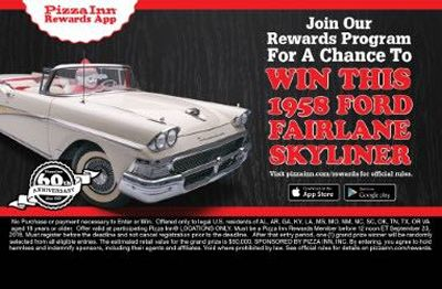Pizza Inn To Give Away 1958 Ford Fairlane Skyliner