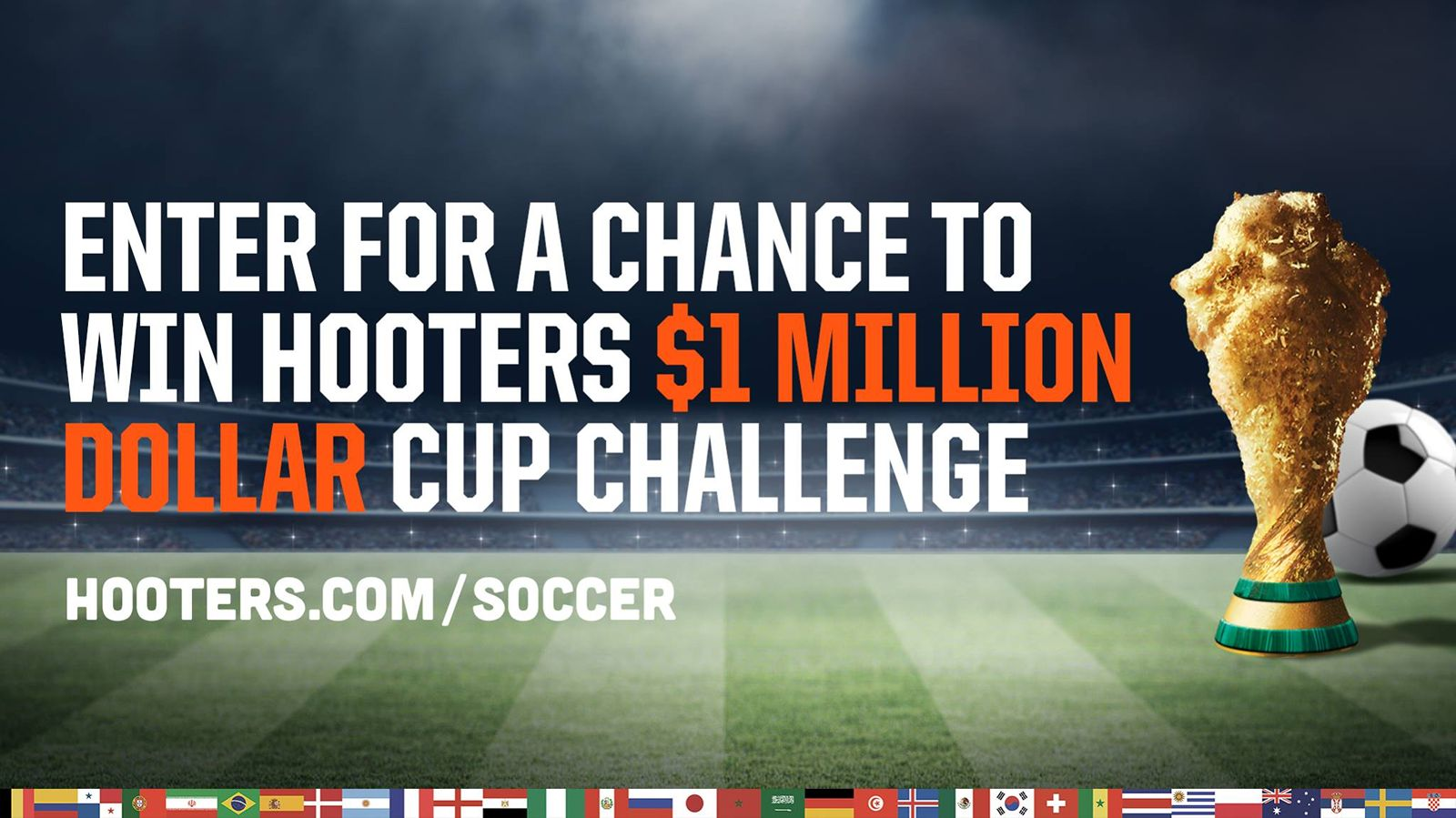 GOAL! Score $1 Million Dollar Grand Prize with Perfect Soccer Bracket in Hooters Cup Challenge Sweepstakes