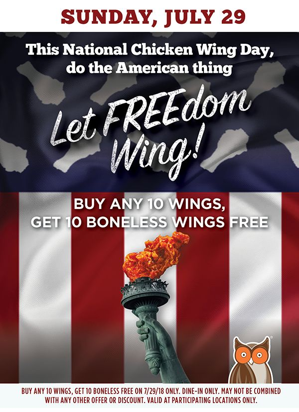 """Let FREE-dom Wing"" at Hooters this National Chicken Wing Day with 10 Free Boneless Wings When You Buy any 10 Wings"