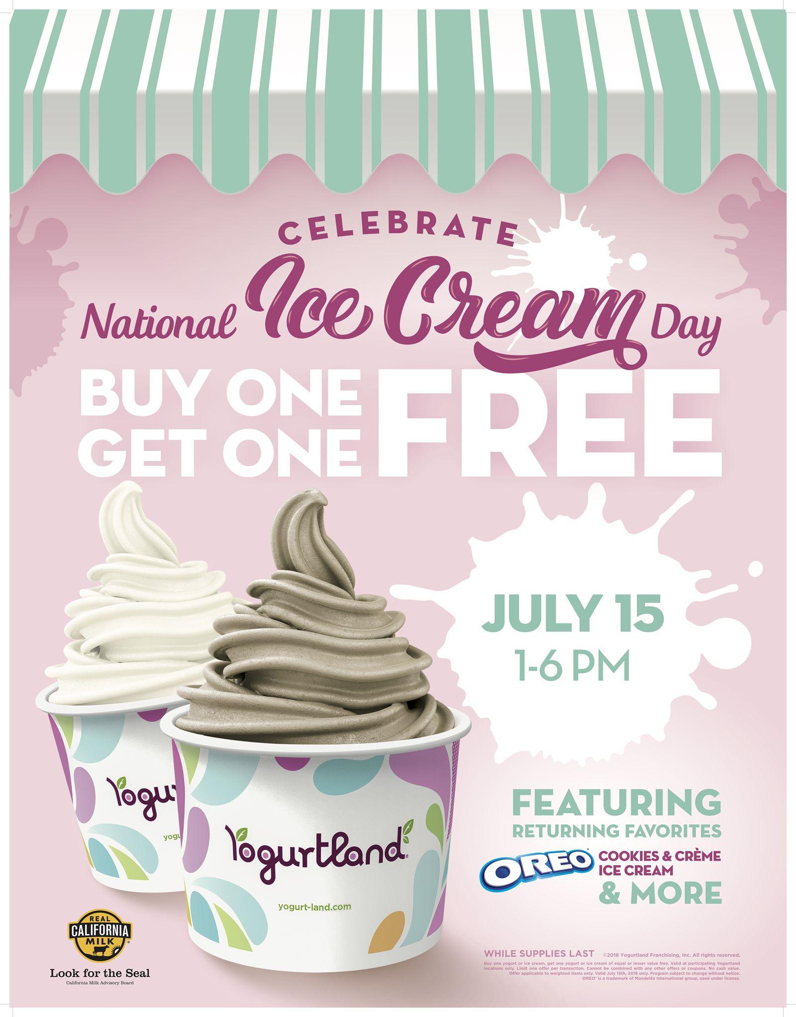 Yogurtland Celebrates National Ice Cream Day On July 15, 2018