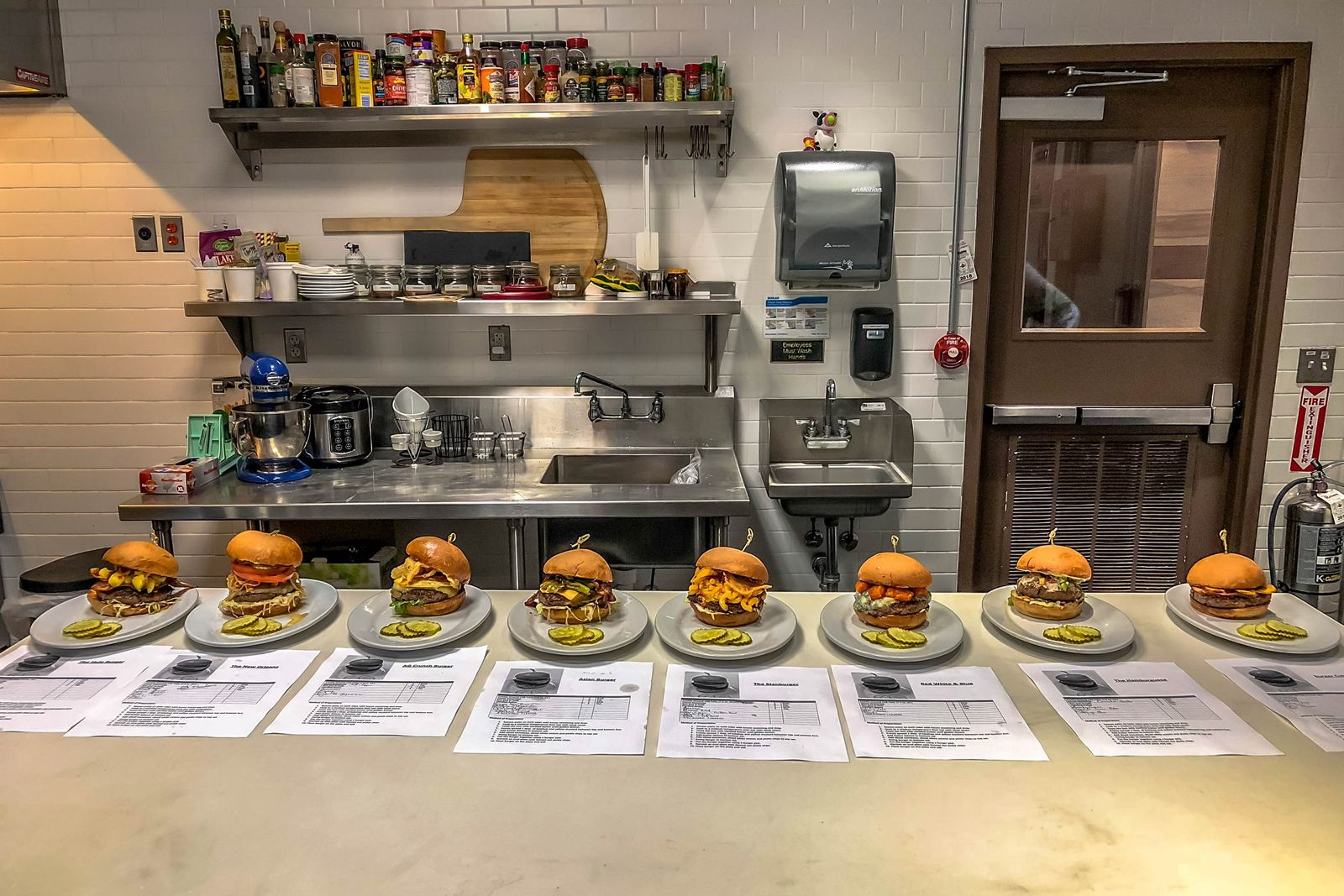Top 8 Burgers prepared at Zinburger's Test Kitchen in Morris Plains, New Jersey.
