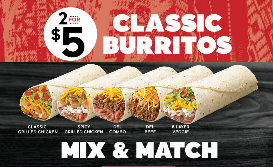 Del Taco Thinks Outside the Box with Its Two for Five Classic Burrito Deal