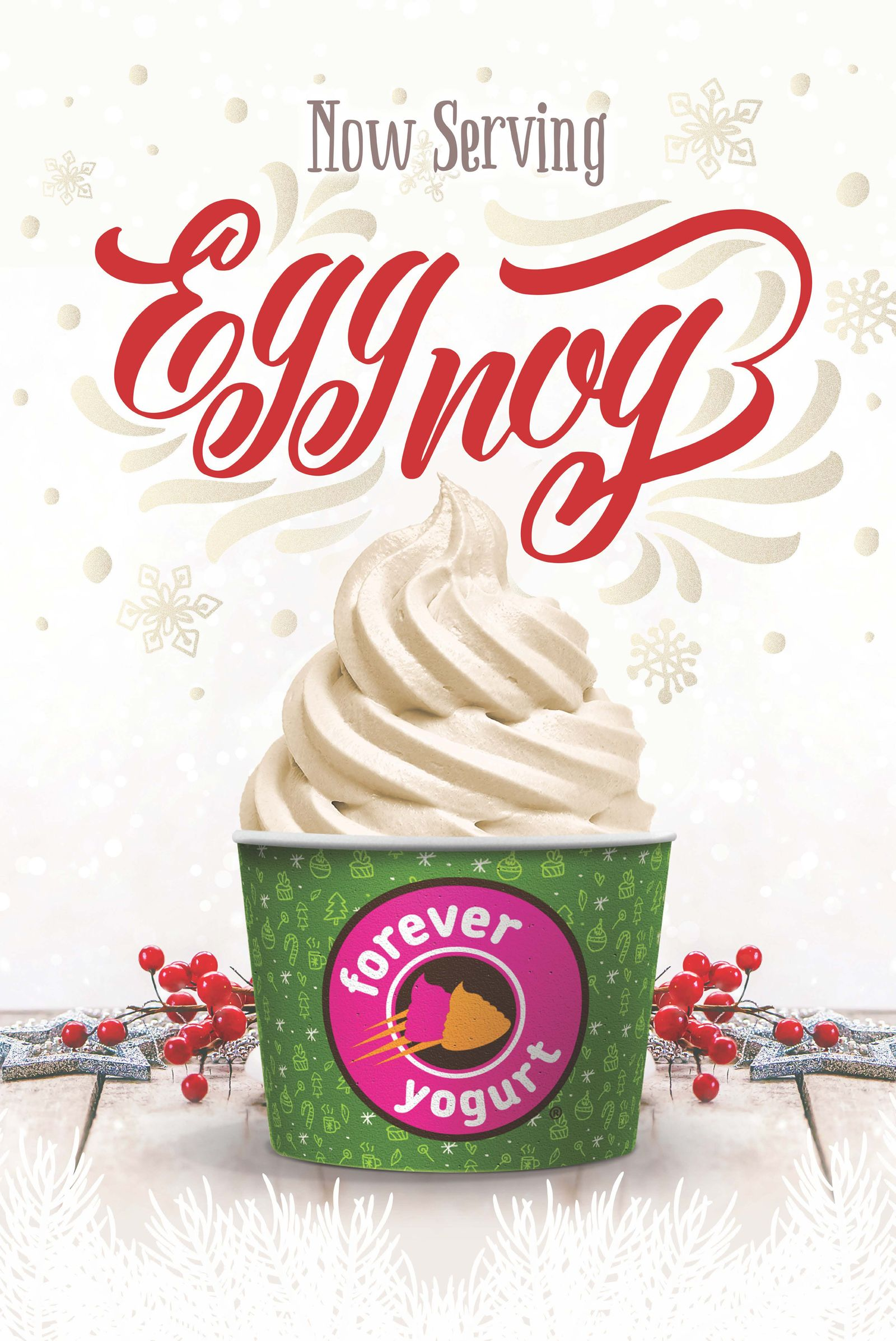 'Tis the Season to Be Swirling: Forever Yogurt Features Eggnog Froyo for December