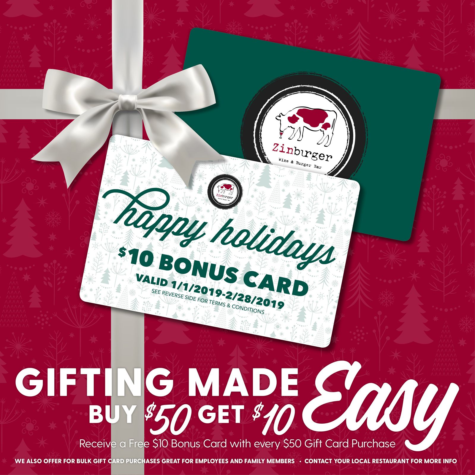Zinburger Wine & Burger Bar Holiday Gift Card Promotion: Free $10 Bonus Card with $50 Gift Card Purchase