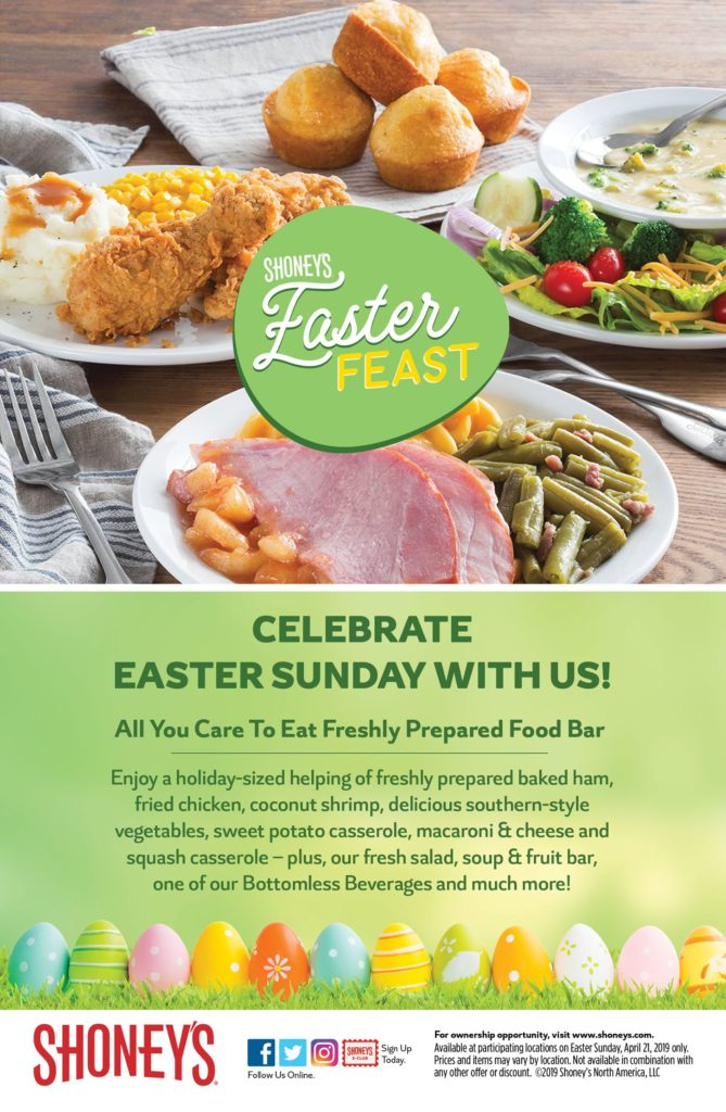 On Easter Sunday, April 21, Shoney's Invites America to Enjoy Its Homestyle, All You Care To Eat Easter Feast Featuring Holiday Favorites