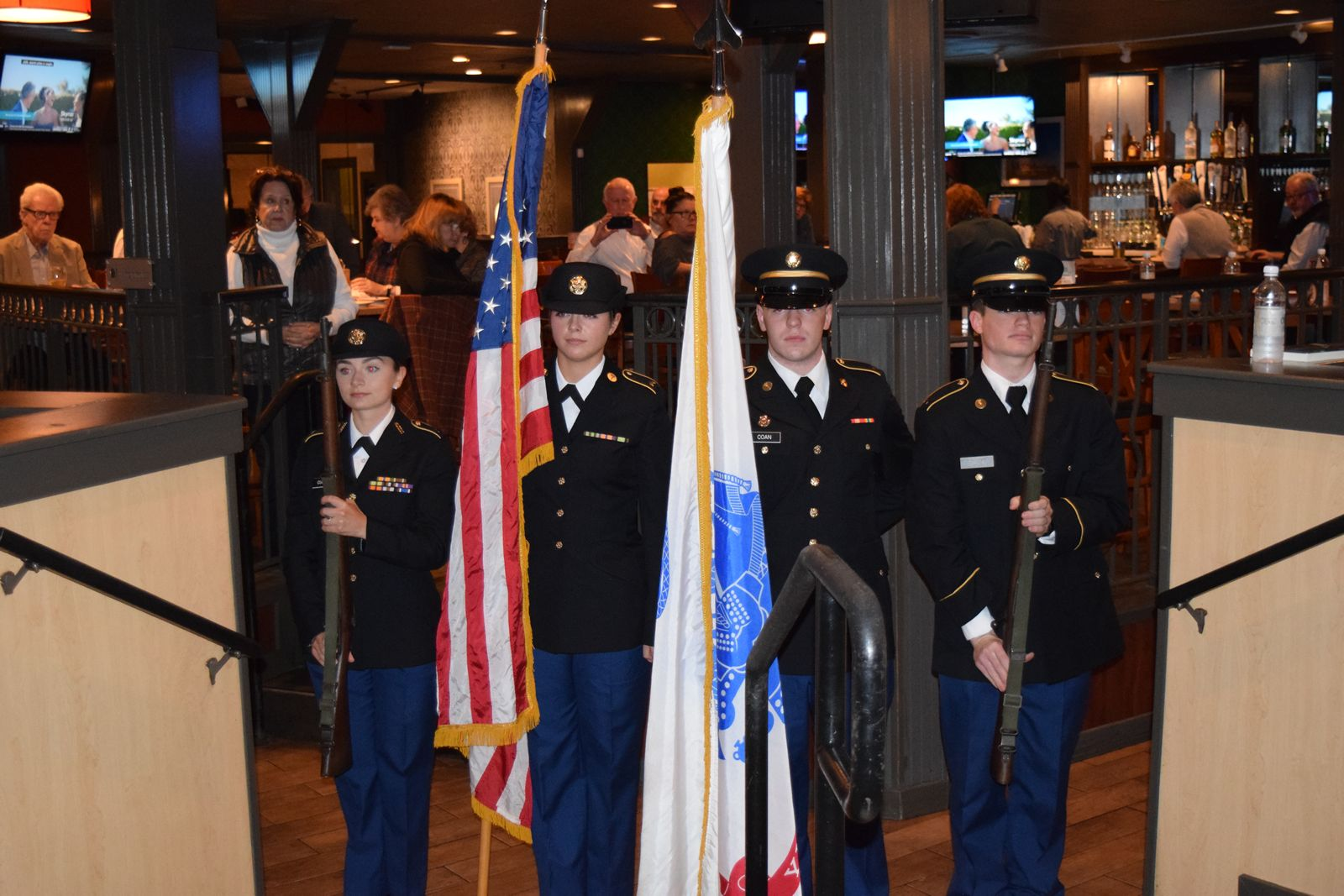 The Vanderbilt Army ROTC presenting the colors.