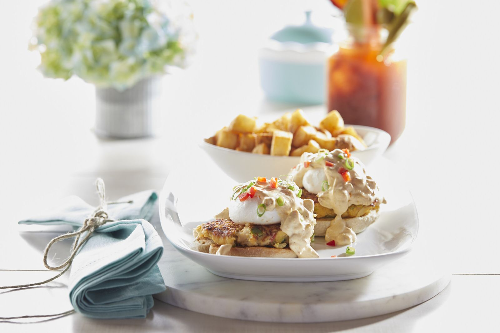 Crab Cake Benedict and ABEA Famous Infused Mary