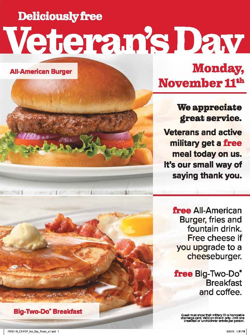 """Friendly's Offers """"Deliciously Free"""" Meal for Veterans and Active Military for Veterans Day"""