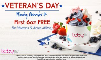 TCBY to Offer Free Deal for Veterans