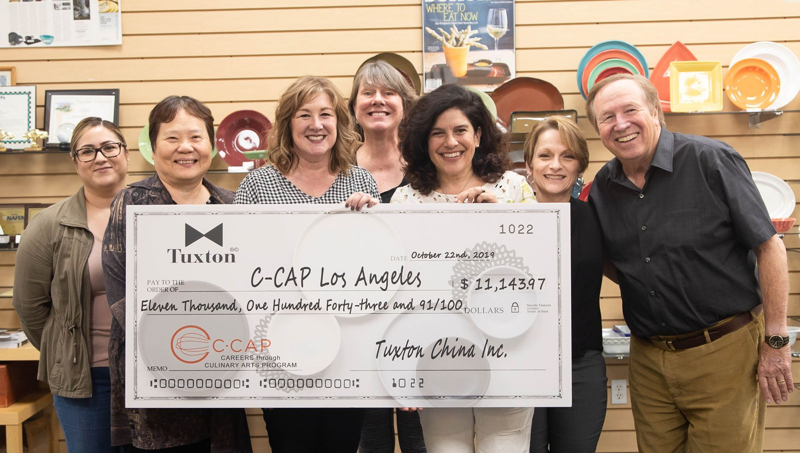 Pictured left to right: Isabel Leon (Tuxton), Apryl Lam (Tuxton), Jennifer Rolander (Tuxton), Lorri Wressell (C-CAP), Lisa Fontanesi (C-CAP), Gail Carney (C-CAP), Bill Burden (Tuxton).