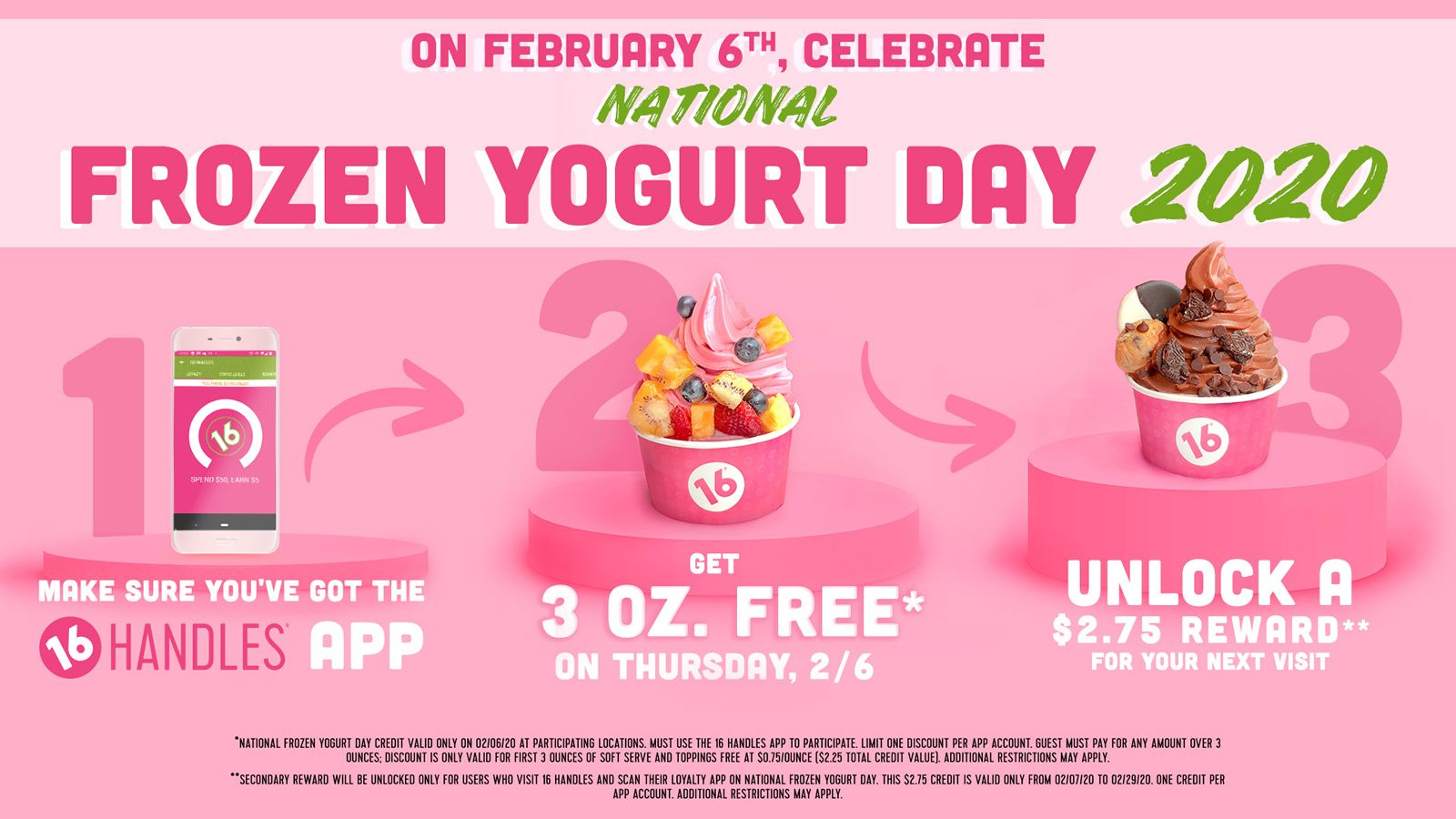 16 Handles Celebrates National Frozen Yogurt Day with Free Fro-Yo!