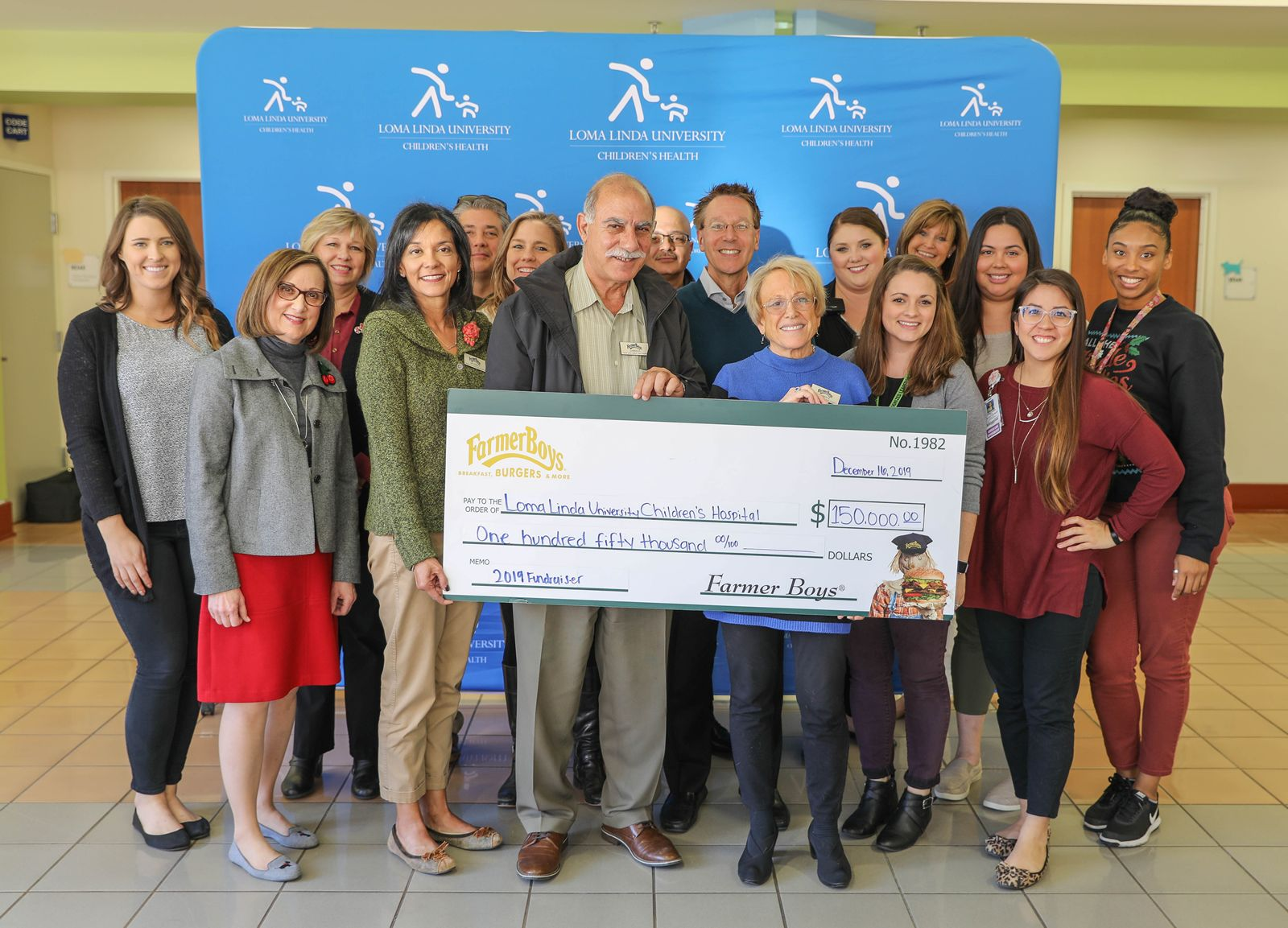 Farmer Boys raised $150,000 for Loma Linda University Children's Hospital (LLUCH) during its 19th annual fundraiser. With the donation, Farmer Boys reached the milestone of more than $1,000,000 donated to LLUCH since first partnering with the hospital in 2000.