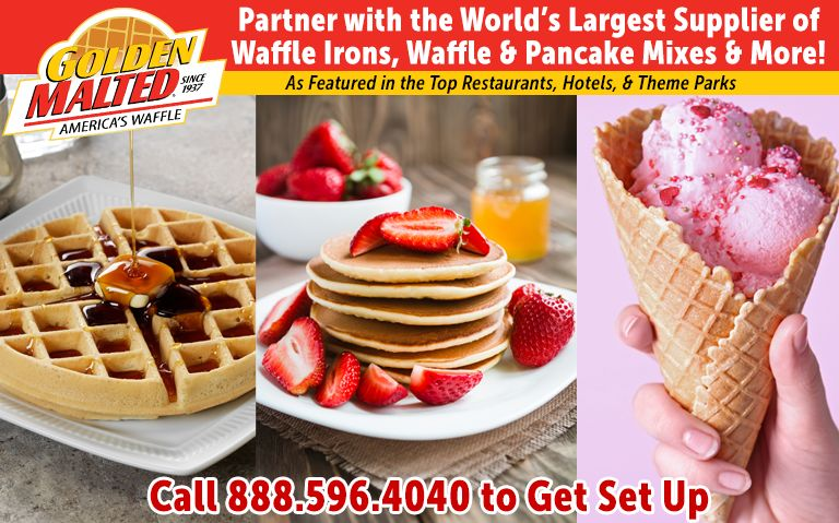 Partner with Golden Malted - the World's Largest Supplier of Waffle Irons, Waffle & Pancake Mixes & More!