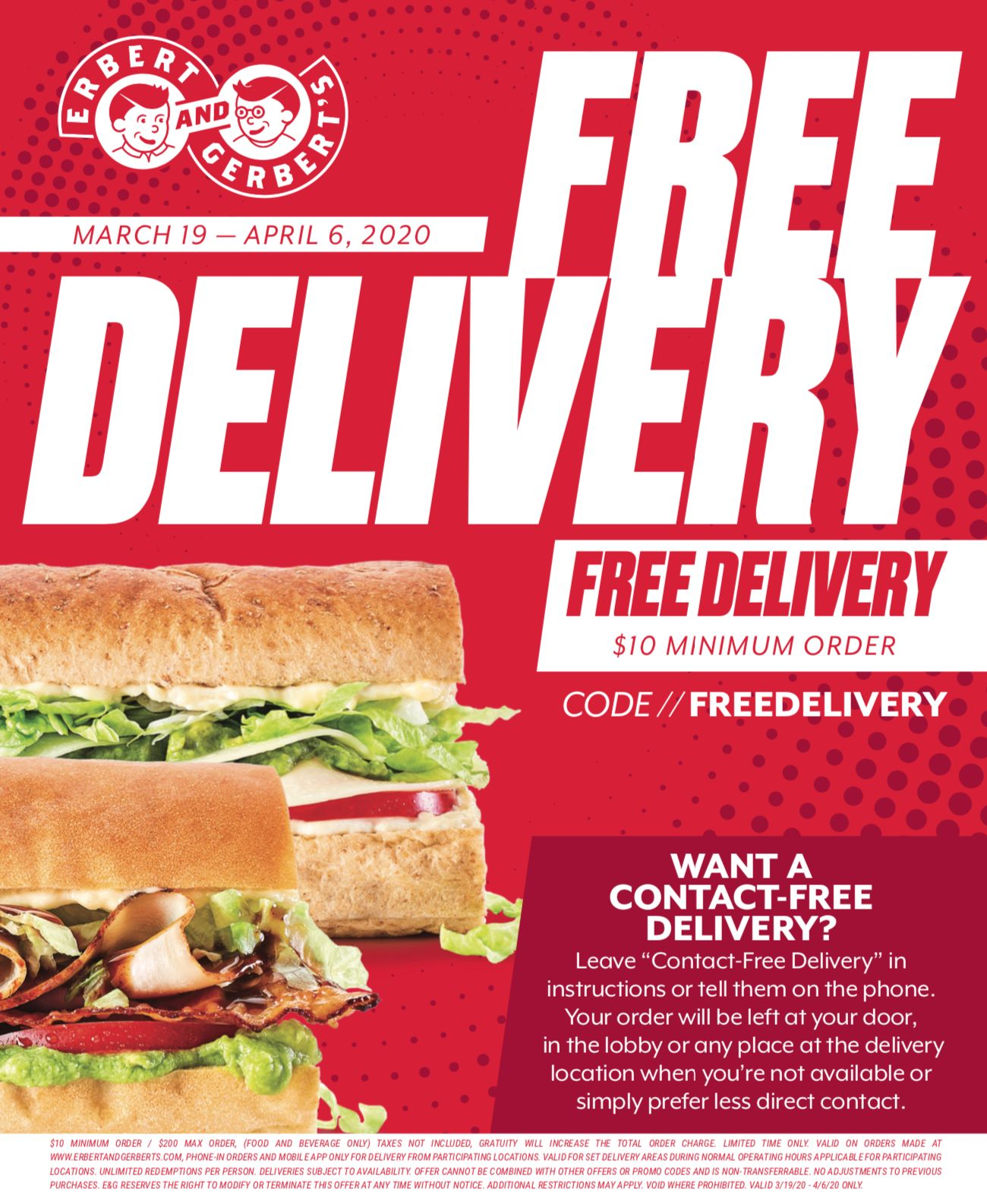 Erbert & Gerbert's Launches Free Delivery Starting March 19