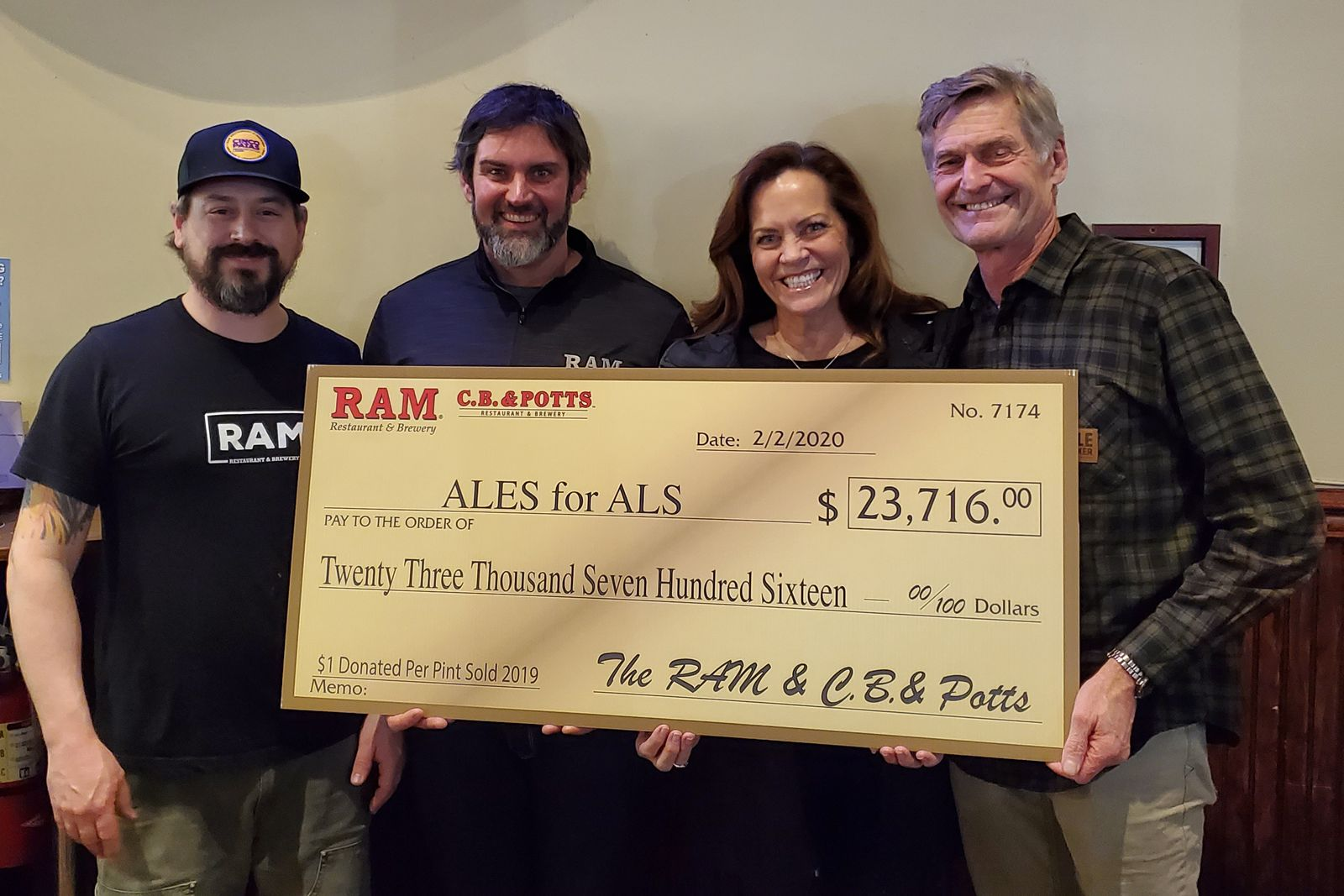 The RAM & C.B. & Potts Restaurants & Breweries Donate $23,716 to Ales for ALS