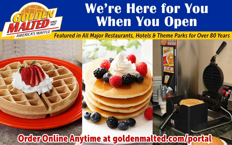 America's #1 Waffle and Pancake Mixes - Golden Malted is Here When You Open