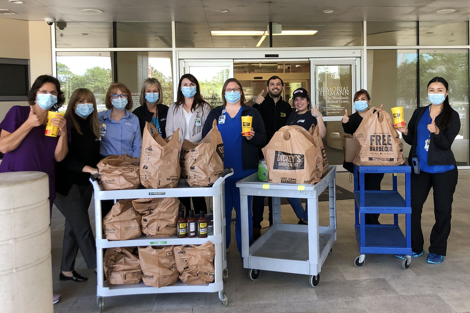 Houston, TX Dickey's Owner Operator Alex Abdulwahad and his team dropped off free barbecue for the staff at Memorial Hermann Medical Center.