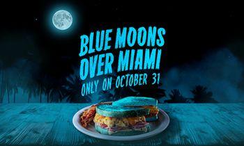 "Blue Moon, Blue Breakfast: Denny's Turns Iconic ""Moons Over My Hammy"" Breakfast Sandwich Blue for Halloween"