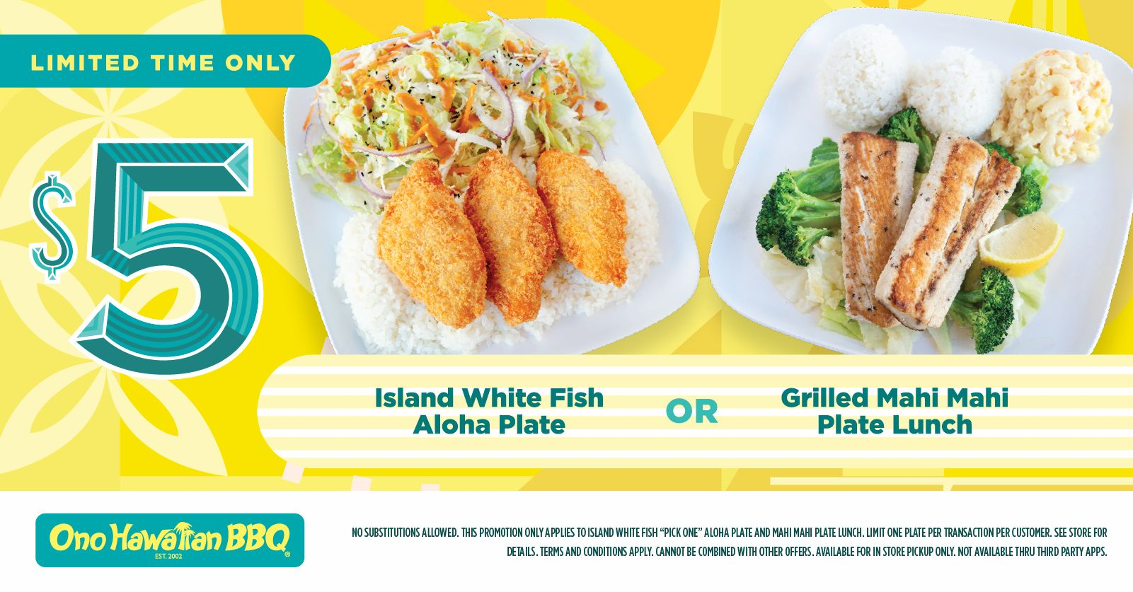 Ono Hawaiian BBQ Showcases a Taste of the Island With $5 Seafood Plate Specials