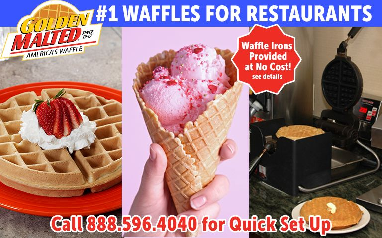 Serve America's Favorite Waffles - Golden Malted Provides Waffle Irons at Set Up