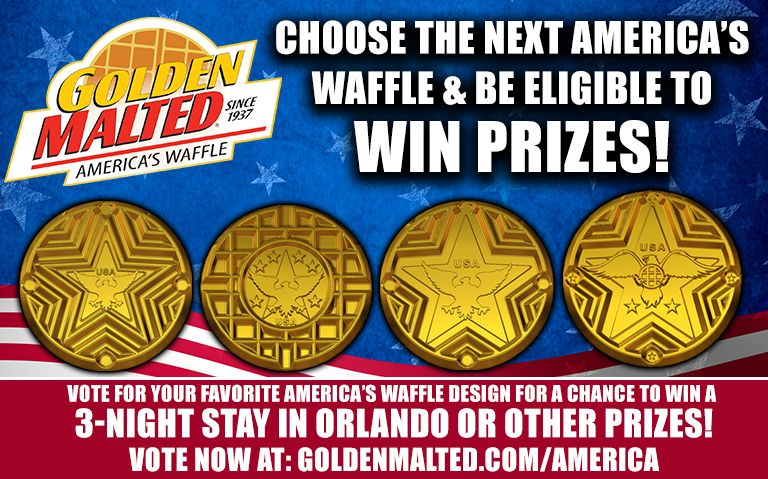 Choose the Next America's Waffle & Be Eligible to Win Prizes from Golden Malted - America's #1 Waffle