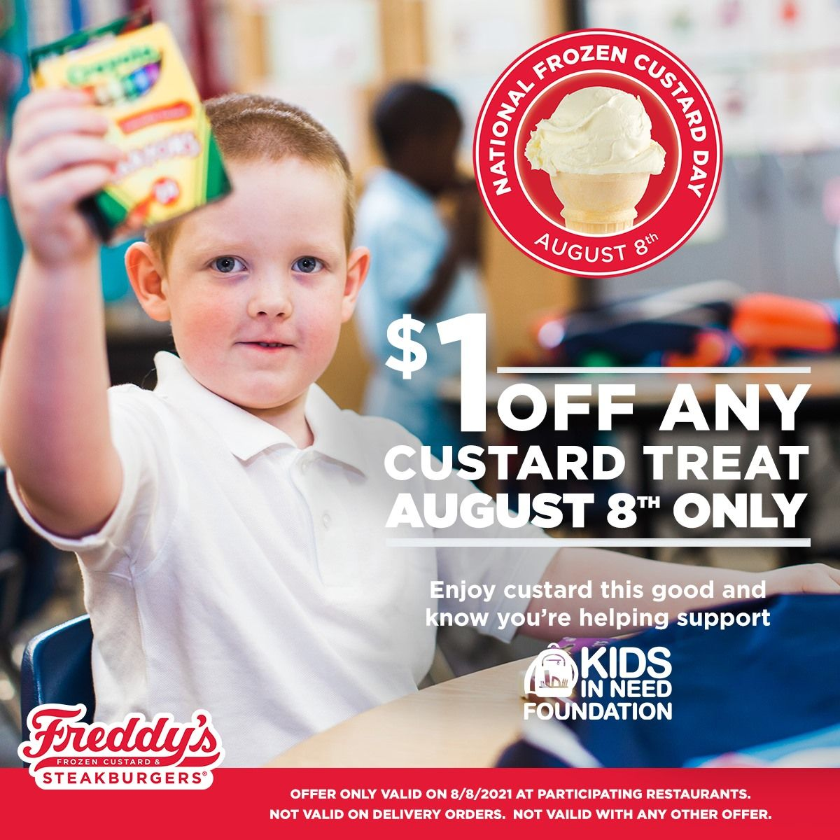 Freddy's Announces Sixth-Annual Kids In Need Foundation Partnership for National Frozen Custard Day