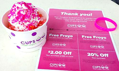 CUPS Frozen Yogurt – That's Hot Raises $12,500 for Bright Pink as part of Breast Cancer Awareness Month