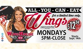 """The WingHouse Bar and Grill Invites Guests to """"Get More Than a Mouthful"""" With All-You-Can-Eat-Wings on Mondays"""