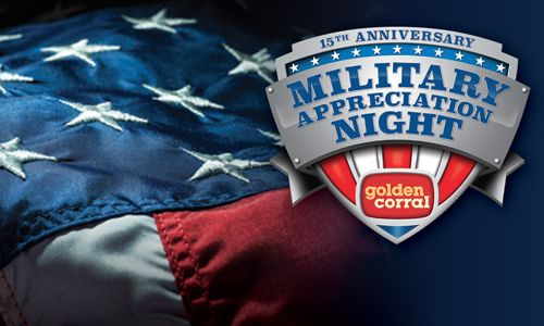 Golden Corral Restaurants Salute America's Heroes with 15th Annual Free Dinner on Military Appreciation Night
