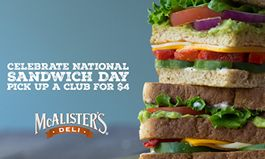 On National Sandwich Day, McAlister's Deli Celebrates The Art of The Sandwich With $4 Clubs and Edible Art