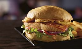Citrus Harissa Salmon Burger and Sear-ious Salmon Run to Red Robin Gourmet Burgers and Brews