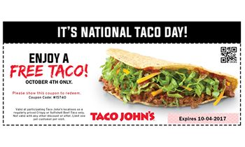 Free Tacos on National Taco Day At Taco John's