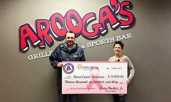 Arooga's Raises over $13,000 for Breast Cancer Awareness in October Fundraiser