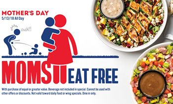 Moms Eat Free at Arooga's on Mother's Day