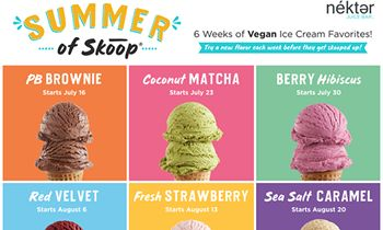 Nékter Juice Bar Accelerates Vegan Ice Cream Program with Release of Six, New Limited-Edition Flavors This Summer