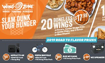 Wing Zone Launches Bracket Challenge for March Madness Basketball Tournament