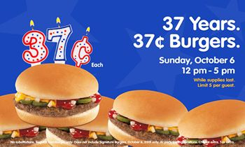 Hamburger Stand Celebrates 37th Anniversary with 37-Cent Burgers!