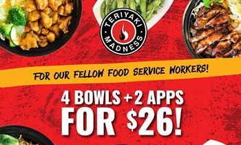 "Teriyaki Madness Introduces New ""Four-Top"" Combo Meals for Hospitality Workers"