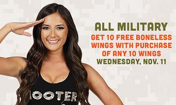 "Hooters Honors Military on Veterans Day with ""Buy 10, Get 10"" Offer"